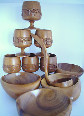 Vintage Set of 6 Hand Carved Wooden Wine Goblets and 6 Bowls with Ladle Awesome