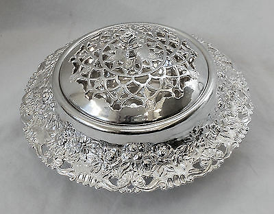 MOST STUNNING!! Vtg Ornate Slv Plate ROSES Pedestal Frog Flower Arranger JAPAN