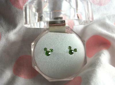 Mouse Ears Earrings~Mickey Emerald Green.925 Sterling Silver Stud Post Disney