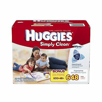 Huggies Simply Clean Baby Wipes, Refill, 648 Count, Free Shipping, New