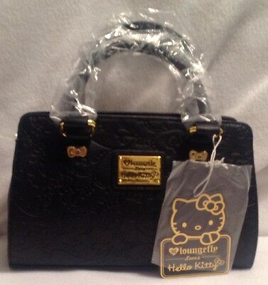New Hello Kitty Floral Embossed Black Fashion X-Body Bag  Loungefly SANTB1323