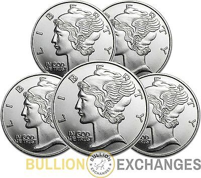 Lot of 5 - Mercury Dime Design 1 Troy Ounce .999 Fine Silver Rounds