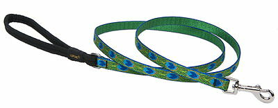 """NEW LUPINE 1/2"""" DOG LEAD LEASH TAIL FEATHERS PEACOCK 6 FT Made in USA GUARANTEED"""