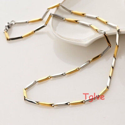 Hot Stainless Steel Silver 2mm Fashion Silver Gold Stick Necklace Chain Men's