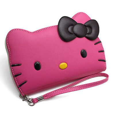"""Hello Kitty Case for iPhone 6 Plus (5.5"""") Wallet Cover Clutch Hot Pink Korea"""
