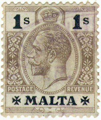 Malta Maltese Vintage Stamp 1914-22 KING GEORGE V Definitive set 1/-  1 Shilling