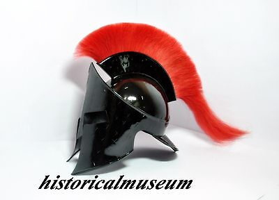 Medieval Roman King Leonidas Helmet Spartan Helmet 300 Movie Helm W/ Red Plum