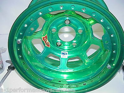 "Aero GREEN 5 x 4-3/4"" Beadlock Wheel 15""x 8"" IMCA 2"" Offset W24 Modified L@@K"