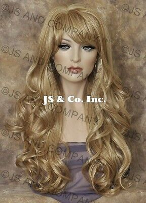 STRIKING Wig! Long Wavy Curly Golden Pale Blonde mix with Full bangs win 24-613