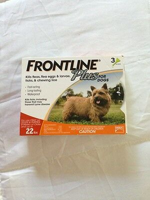 FRONTLINE PLUS For Dogs 0-22 lbs,    4 -3 Packs Sealed Box US-EPA Boxes Damaged