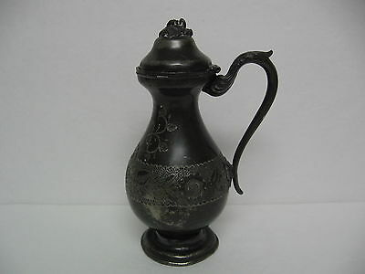 """Syrup Pitcher 8.5"""" Tall Silverplate (?) ANTIQUE 1865 Very Good Antique Condition"""