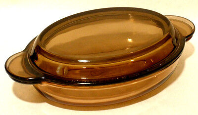 Corning Ware Vision 14 ounce Oval Casserole Dish w/ PYREX Lid, Amber, V-14-B