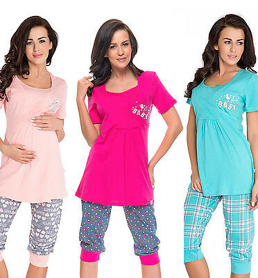 Maternity Nursing 100%cotton 2-peace Pyjama Set size 8 10 12 14  breastfeeding