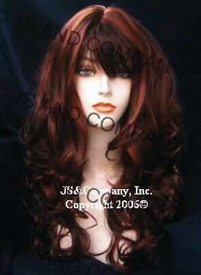Sexy Bouncy Long Wavy Curly Layered wig Auburn mix w/ full bangs  JSCA 33/130