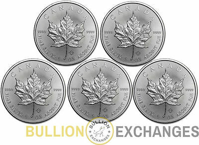 Lot of 5 - 2015 1 oz Silver Canadian Maple Leafs