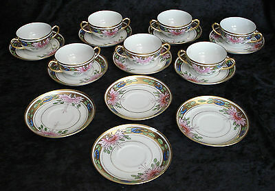 Lot of 18 H & Co hand-painted bouillon cups saucers  Heinrich Bavaria gold leaf