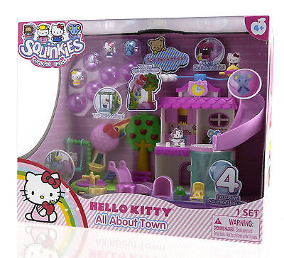 Squinkies Hello Kitty All About Town Playground Play Set 4 Exclusive Figures NIB