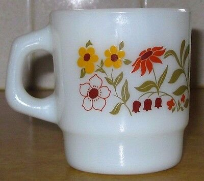 Vtg Anchor Hocking White Milk Glass Stacking Mug Wild Flowers Cup Coffee Tea