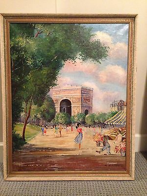 Antique Original Oil Painting Paris France L'arc de Triomphe French Large 36x24