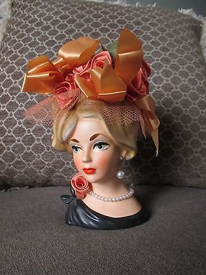 "Vintage lady head vase--NapcoWare--#7293--6"" tall--Original Flowers--Earrings +"