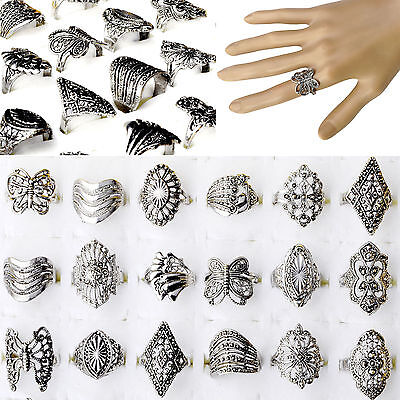 30pcs Wholesale Jewelry Lots Mixed Style Tibet Silver Vintage Rings New Fashion