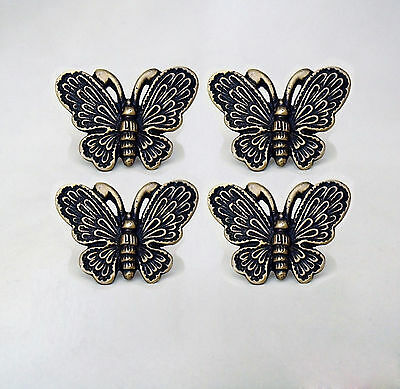 Lot of 4 pcs Vintage BUTTERFLY Antique Cabinet Door Solid Brass KNOB Drawer Pull