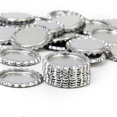 "100pcs Flat 1"" Bottle Caps Linerless Flattened No Liners Silvery"