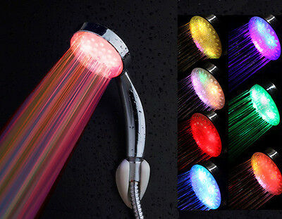 Colorful Romantic 7 Colors Changing LED Shower Head Water Glow Light Bathroom