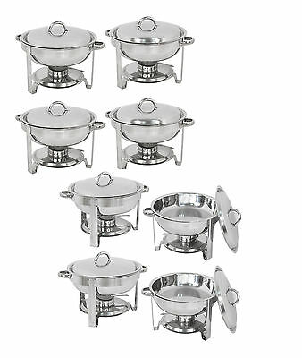 8Pcs 5QT Stainless Round Chafer Chafing Dish Catering Banquet Buffet Food Warmer