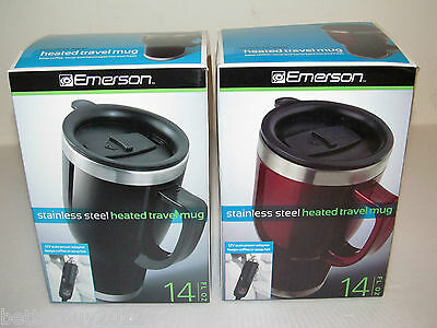 LOT of 2 Emerson 14oz. Stainless Steel Heated Mug with 12V Car Power Adapter-NEW
