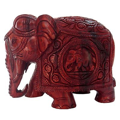 REAL RED SANDAL WOOD CARVING ELEPHANT FIGURING SCULPTURE STATUE 15X20X12 CMS