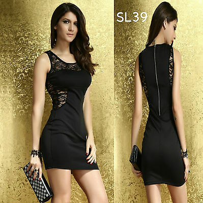 Sz 8 10 Black Sleeveless Sexy Lace Formal Cocktail Party Dance Club Mini Dress