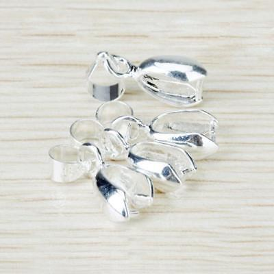 20Pcs Silver Plated charm Pendant Pinch Clip Bail Connector