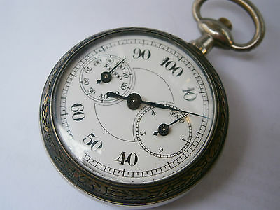 ANTIQUE GERMANY ENAMEL DIAL POCKET WATCH PEDOMETER STEP METER Ostrich/Pyramids