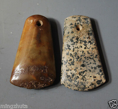 Excellent Ancient Chinese Neolithic Pair Of Jade Celt Ax