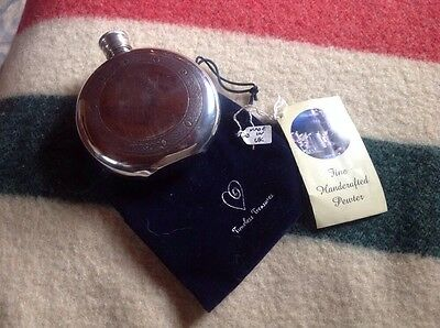Handcrafted In UK Pewter Flask NWT In Drawstring Pouch Highland Games Scottish