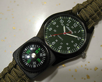 Paracord Survival Watch Water Proof (US Navy Vet Made) w/ Compass Tactical