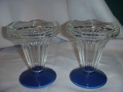 Vintage Glass Parfait Sundae Set of 2 Glasses Clear w/ Blue Base Made in France