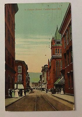 1913 POSTCARD N. CENTRE ST., CUMBERLAND, MARYLAND, NEFF NOVELTY COMPANY