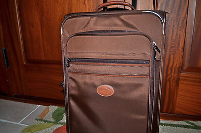 "New $350 Longchamp Le Pliage Wheel Carry-On 20"" Trolley Chocolate Brown"