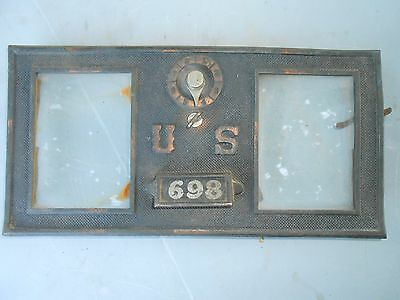 Vintage Brass US Post Office Metal Mail Box Door Double Glass #698