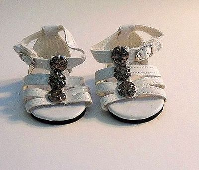 """Doll Clothes 18"""" Sandals White Ankle Strap Fits American Girl Dolls"""