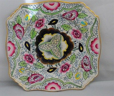 Royal Winton Square Plate Grimwades Cobalt Blue With Pink Blue Yellow Floral Chi