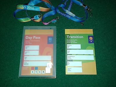 2 Official Olympic Games ATHENS 2004 Day Passes & Lanyards