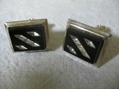 Black w/ Clear Jewels & Silver Tone Edge Vintage Men's Cufflinks ~