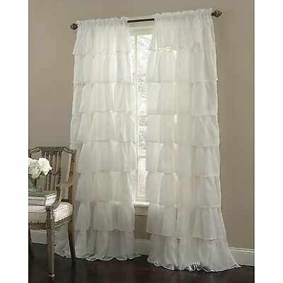 "Gypsy Ruffled Curtain Panel Window 60""W X 63""L Sheer Curtains Chic Free Shipping"