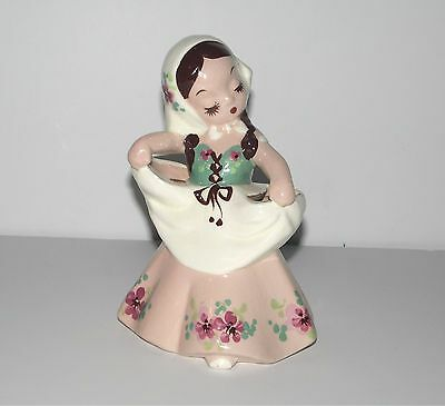Vintage 1943 DeLee Art Pottery Marked Figurine Planter Hand Painted