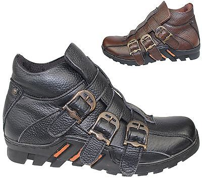 77d00717c Mens Mild Leather Boots High Top Ankle Hiking Trail Biker Desert Shoes