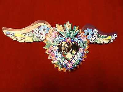 Large Mexican Folk Art Handpainted Tin Winged Heart Candle Light Luminaria 9x21""