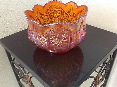 Large Carnival Glass Amber Bowl - Very Pretty